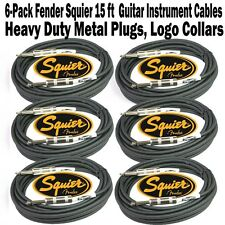 6-Pack FENDER SQUIER Logo 15' FT Instrument GUITAR Bass Patch CABLE Cord 4.5m