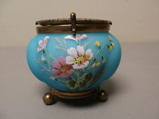 UNUSUAL 19th C. FRENCH OPALINE GLASS ENAMELED DRESSER BOX w/ SWIVEL MIRROR TOP