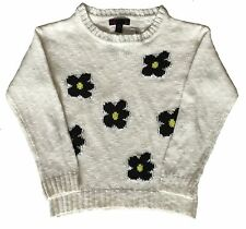 WHITE BIG DAISIES LS PULLOVER SWEATER - Size - S(7)