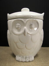 American Atelier White w /Antique Owl Shaped Ceramic Cookie Jar Canister