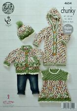 KNITTING PATTERN Baby Cardigan Hat Onesie and Dress Chunky King Cole 4654