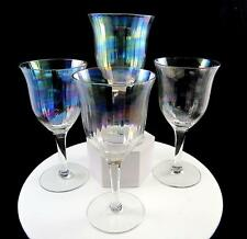 """FOSTORIA #858 MOTHER OF PEARL IRIDESCENT 4 PC OPTIC GLASS 6 1/2"""" WATER GOBLETS"""