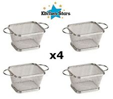4pcs Mini Chrome Chip Fryer Serving Food Presentation Basket by Kitchen Stars