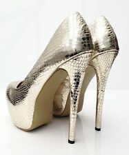 Large Size High Heel Shoes UK Size 10 Gold Effect crossdressing