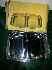 "VINTAGE STAINLESS STEEL DIVIDED SERVING DISH / TRAY MADE IN JAPAN 10"" LONG"
