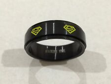 316L STAINLESS STEEL SUPERMAN SPINNER RING BLACK & YELLOW NEW SZ 10 USA SHIPPED