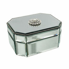 SOPHIA ART DECO STYLE MIRROR GLASS JEWELLERY BOX WITH CRYSTAL DECORATION