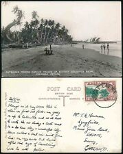 CEYLON WW2 1941 PPC MOUNT LAVINIA CANCEL...FISHING CANOES...CLEAR PHOTO RP
