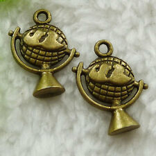 Free Ship 160 pieces bronze plated globe charms 21x15mm #1548
