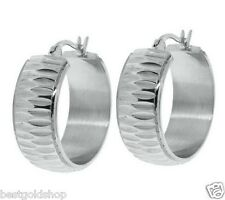 "1"" Diamond Cut Wide Hoop Earrings Stainless Steel by Design QVC J274891"