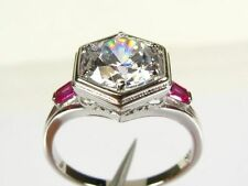 Art Deco 2.10ctw White Topaz & Lab Ruby Coated Platinum 925 Sterling Ring 153b