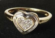 SPARKLING 14K GOLD INVISIBLE-SET PRINCESS DIAMOND BEZEL HEART RING~SIZE 7