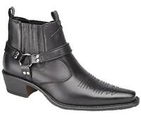New Black Leather Look Western Biker Cowboy Boots Sizes Uk 6 7 8 9 10 11 12