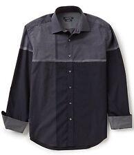 Bugatchi Uomo Shaped Fit Casual Shirt Mens S Engineered Plaid Black NWT $179