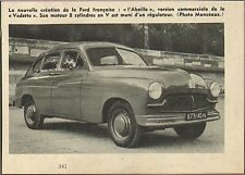 AUTOMOBILE FORD VEDETTE ABEILLE IMAGE 1952 OLD PRINT