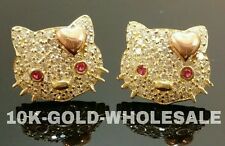 LADIES 10K YELLOW GOLD HELLO KITTY STUD EARRING 5370