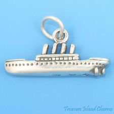 TITANIC ~ OCEAN LINER CRUISE SHIP 3D .925 Solid Sterling Silver Charm
