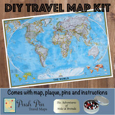 DIY Classic World Push Pin Travel Map Kit