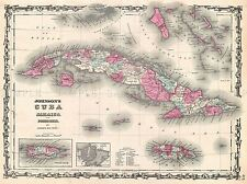 1862 JOHNSON MAP CUBA AND PORTO RICO VINTAGE POSTER ART PICTURE 2933PYLV