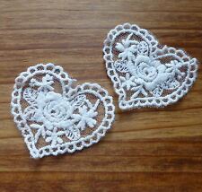 2 pcs Lace patch HEART , applique, scrapbooking embellishment
