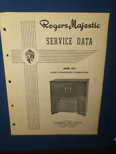 ROGERS MAJESTIC R231 RADIO PHONOGRAPH SERVICE MANUAL ORIGINAL FACTORY ISSUE