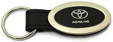 Toyota Rav4 Oval Black Leather Key Chain Metal Key Ring Fob Lanyard TRD