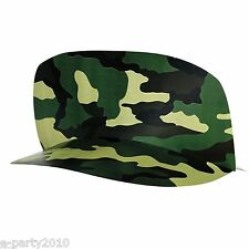 MILITARY CAMOUFLAGE HATS (8) ~ Birthday Party Supplies Paper Favors Army Visors