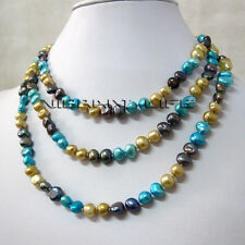 """50"""" 6-8mm Champagne Gray Blue Baroque Freshwater Pearl Necklace U"""
