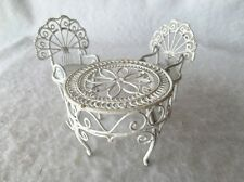 DOLLHOUSE 3 Piece White Wrought Iron Outdoor Furniture Set Very Cool Minatures