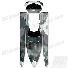 "PRO BOAT SHOCKWAVE 36 ""Smoke Camo"" GRAPHICS FITS OEM HULL PARTS DECAL WRAP KIT"