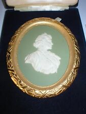 WEDGWOOD GREEN JASPER WARE QUEEN MOTHER PORTRAIT MEDALLION LE 250 ORMOLU FRAME