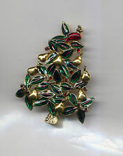 LIA GREEN PARTRIDGE IN A PEAR CHRISTMAS TREE PIN gold