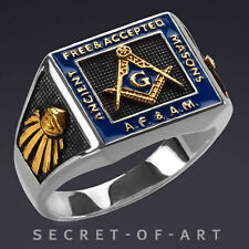 A.F.A.M. SILVER MASONIC RING ALL SEEING EYE & G-SYMBOL, 24K-GOLD PLATED