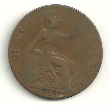 Very Nicely Detailed 1921 Great Britain English Half 1/2 Penny-Jn088