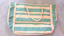 DSW STRIPED BLUE SUMMERTIME CANVAS BEACH SHOPPING BAG TOTE