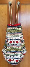 VINTAGE Colorful Cloth Bright Tribal Print Cinch Travel Bag Backpack Duffle