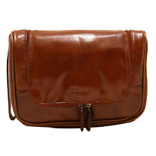 Ashwood - Chestnut Brown Hanging Chelsea Wash Bag in Veg Tanned Buffalo Leather