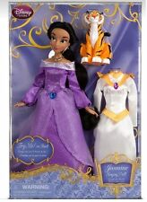 "DISNEY STORE JASMINE 11 1/2"" SINGING DOLL & COSTUME SET ALLADIN Rajah 2013"