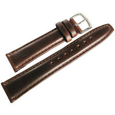20mm Hadley-Roma MS881 Mens Short Brown Smooth Padded Leather Watch Band Strap