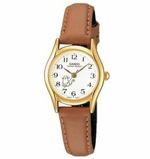 Casio Women's Brown Leather Strap Watch, White Dial, Cat, LTP1094Q-7B8