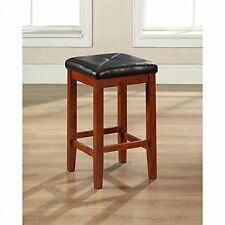 Furniture Upholstered Square Seat Bar Stool, Vintage Mahogany with 24-Inch