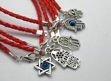100 Mixed Kabbalah Hamsa Hand Charms Red Leatheroid Braided String Bracelets