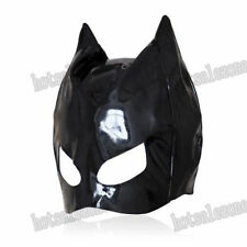 Enamel / patent Leather cat woman dominatrix mask hood head Roleplay