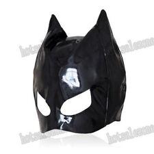 Enamel / patent Leather cat woman dominatrix mask hood head Roleplay