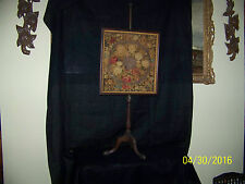 Antique c1870-1890 Hand Done Floral Embroidery Fire Screen w/Stand