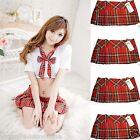 """Ladies sexy micro mini Hipster tartan kilt side zip pleated skirts club wear 12"""""""