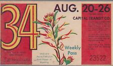 Trolly/Bus pass capital Transit Wash. DC--8/20/26-Indian Paint brush----40