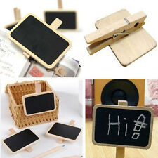 10pcs Wooden Mini Blackboard Note Memo Photo Clip for Baby Learning Home Decor Q