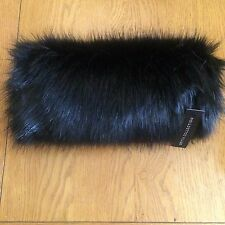 BRITTA  COLLECTION BLACK HAND MUFF FAUX FUR HAND WARMER LUXURY RUSSIAN RRP30.00