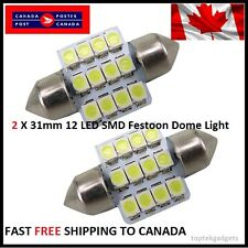 2X WHITE Xenon Festoon 31mm LED Dome Light Bulb 12SMD LED chips Interior 3528